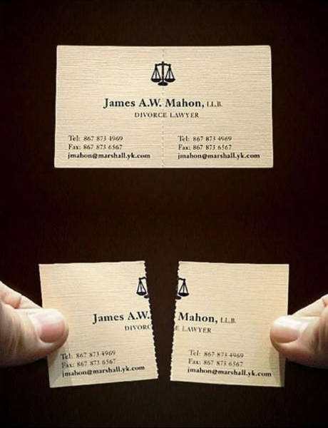 Incredible business card designs alexanders print advantage web very cleverly the card of this divorce lawyer uses perforation for easy tearing plus the contact information remains on both sides of the card for colourmoves