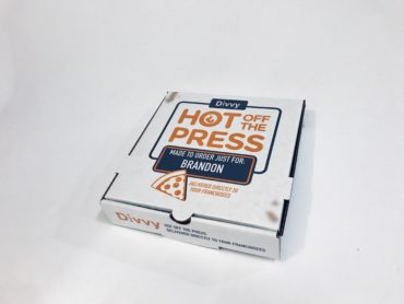 Pizza box marketing campaign by Divvy