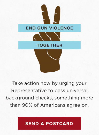 TOMS Shoes uses postcards to market a campaign against gun violence
