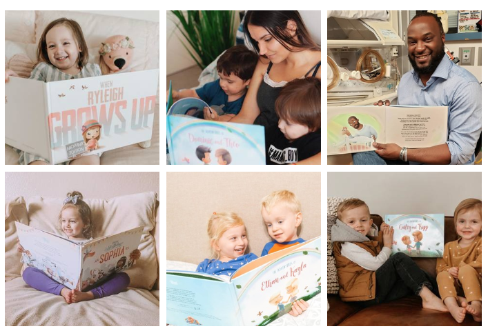 Collage of images with children and parents holding and reading books from Hooray Heroes.
