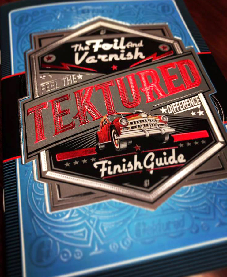 The Tektured Sample Kit foil and varnish finish guide.