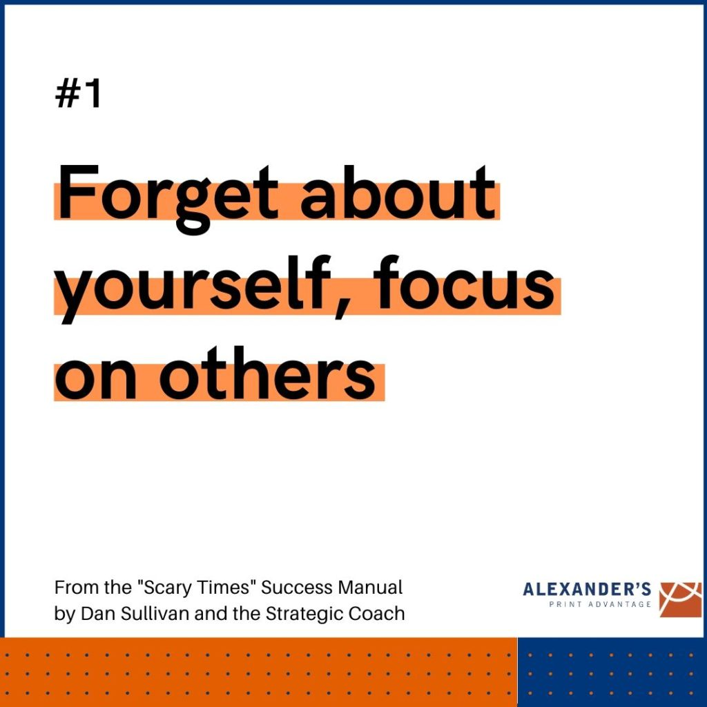 Strategies for success amid COVID-19: Forgest about yourself, focus on others - graphic