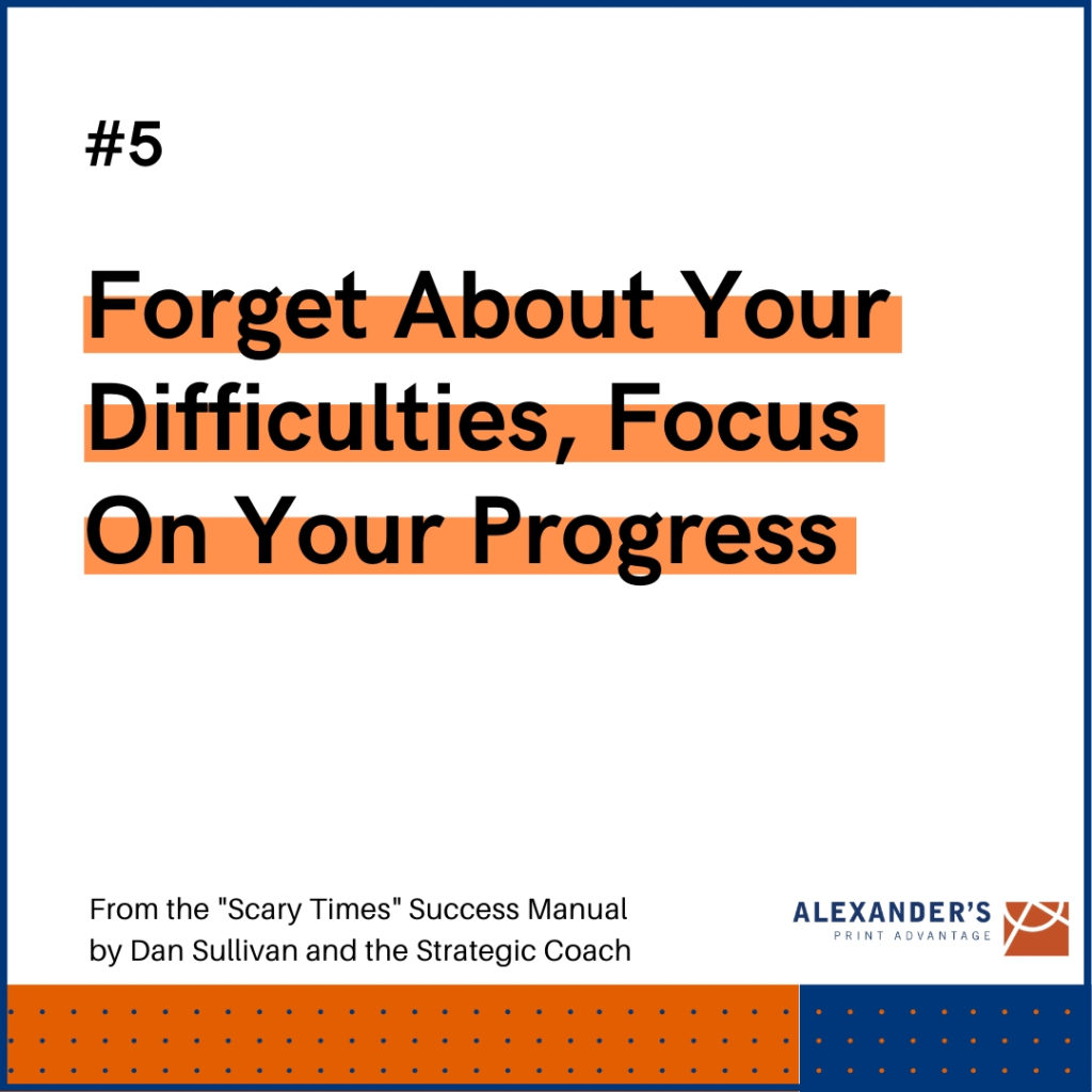 Graphic: Why focus on progress - Forget about your difficulties, focus on your progress.